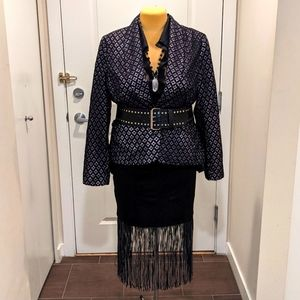 Plus Office Goth Ricki's XXL Lace Overlay Blazer